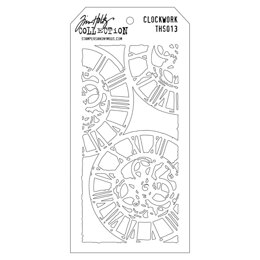 "Stampers Anonymous Tim Holtz Layered Stencil 4.125""X8.5"" - Clockwork"