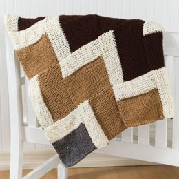 Easy Knit Zigzag Afghan in Red Heart Super Saver Economy Solids - WR1682