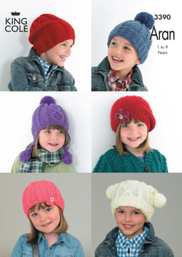 Children's Hats in King Cole Comfort Aran - 3390