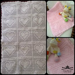 Bordered Heart Filet Blanket