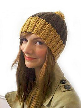 """""""Ribbed Bobble Hat"""" - Hat Knitting Pattern For Women in Debbie Bliss Blue Faced Leicester Aran"""
