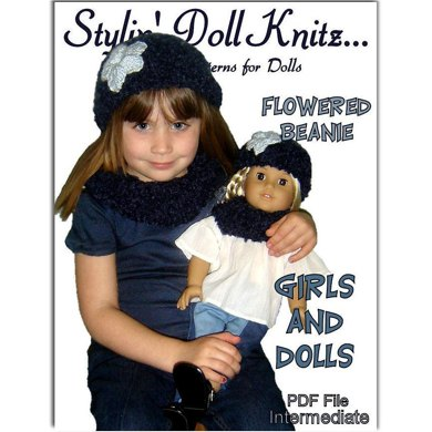 Matching Girl and Doll Beanie and Neck Warmer. 18 inch doll, children. PDF, 402