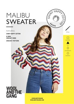 Malibu Sweater in Wool and the Gang Shiny Happy Cotton - Leaflet