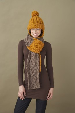 Learn To Cable Scarf Lion Brand Wool-Ease Thick & Quick - 60429A