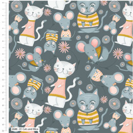 Craft Cotton Company Kitty Garden - Cats & Mice