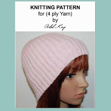Nicky Simple Easy Ribbed Beanie Hat Child Teen Adult 4ply Yarn Knitting Pattern by Adel Kay