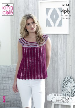Sleeveless and Shortsleeve Tops in King Cole Giza Cotton Sorbet 4ply and Giza Cotton 4ply - 5144 - Leaflet