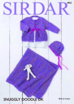Coat, Bonnet & Blanket in Sirdar Snuggly Doodle DK - 4931 - Downloadable PDF