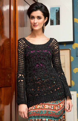Date-Night Lacy Sweater in Red Heart Sparkle Soft - LW4740 - Downloadable PDF