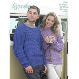 His and Hers Textured Sweater in Wendy Supreme Cotton DK - 5768