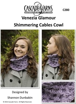 Shimmering Cables Cowl in Cascade Venezia Glamour - C280