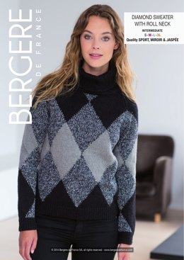 Diamond Sweater with Roll Neck in Bergere de France Sport