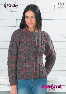 Mock Cable Cardigan and Vest in Wendy Festival Chunky - 5736