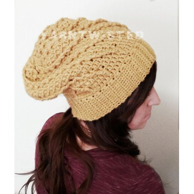 Sunny Spiral cabled slouchy hat