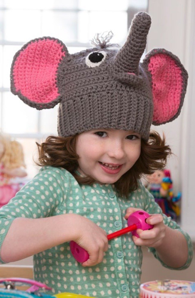Elephant Hat in Red Heart With Love Solids - LW4192 ...