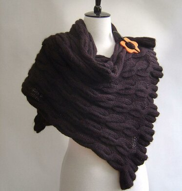 Wrap Shawl with Cables