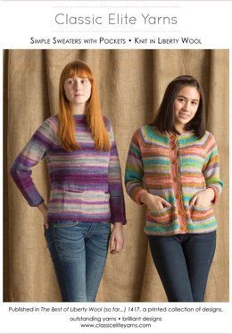 Simple Sweaters with Pockets in Classic Elite Yarns Liberty Wool Solids - Downloadable PDF