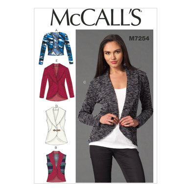 McCall's Misses' Cardigans M7254 - Sewing Pattern