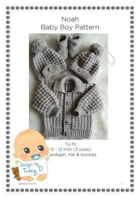 Noah baby cardigan, hat and booties knitting pattern 3 sizes 0-12mths