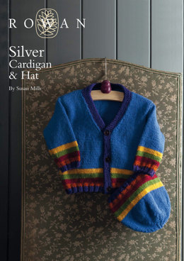 Silver Cardigan and Matching Hat in Rowan Pure Wool Worsted