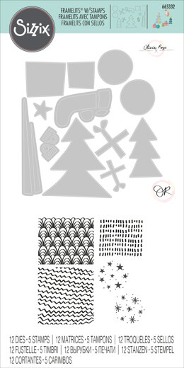 Sizzix Framelits Die Set 12PK w/Stamps - Groovy Christmas by Olivia Rose