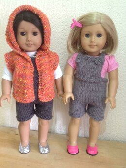 Dolls hooded gilet and dungarees
