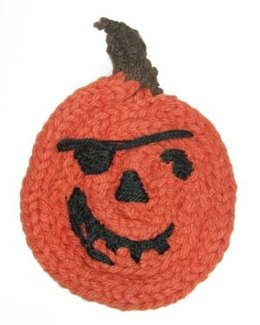 Spool Knit Jolly Pirate Jack o' Lantern Hot Pad in Lion Brand Wool-Ease