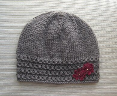 Taupe Hat with Crochet Flowers
