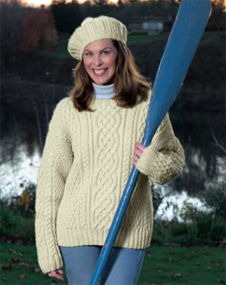 Traditional Aran Knitting Patterns : Knitted Aran Sweater in Lion Brand Fishermens Wool - 1101A Knitting Pa...