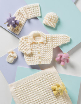 Pram Jacket, Blanket, Scarf, Hat and Mittens Set in Stylecraft Wondersoft DK - 8120