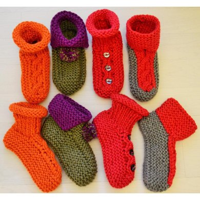 Chunky Slipper Socks 4 Styles Knitting Pattern By Laineknits