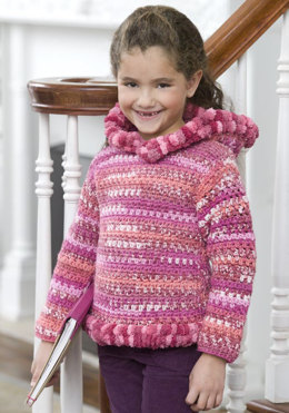 Crochet Girlie Hoodie in Red Heart Stripes and Pomp-a-Doodle - LW2421 - Downloadable PDF