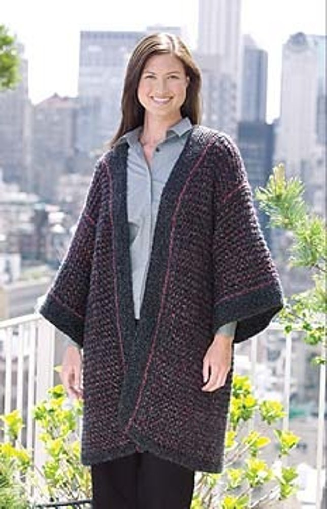Knitting Pattern For Kimono Cardigan : Knitted Kimono Cardigan in Lion Brand Homespun - 20132A Knitting Patterns ...