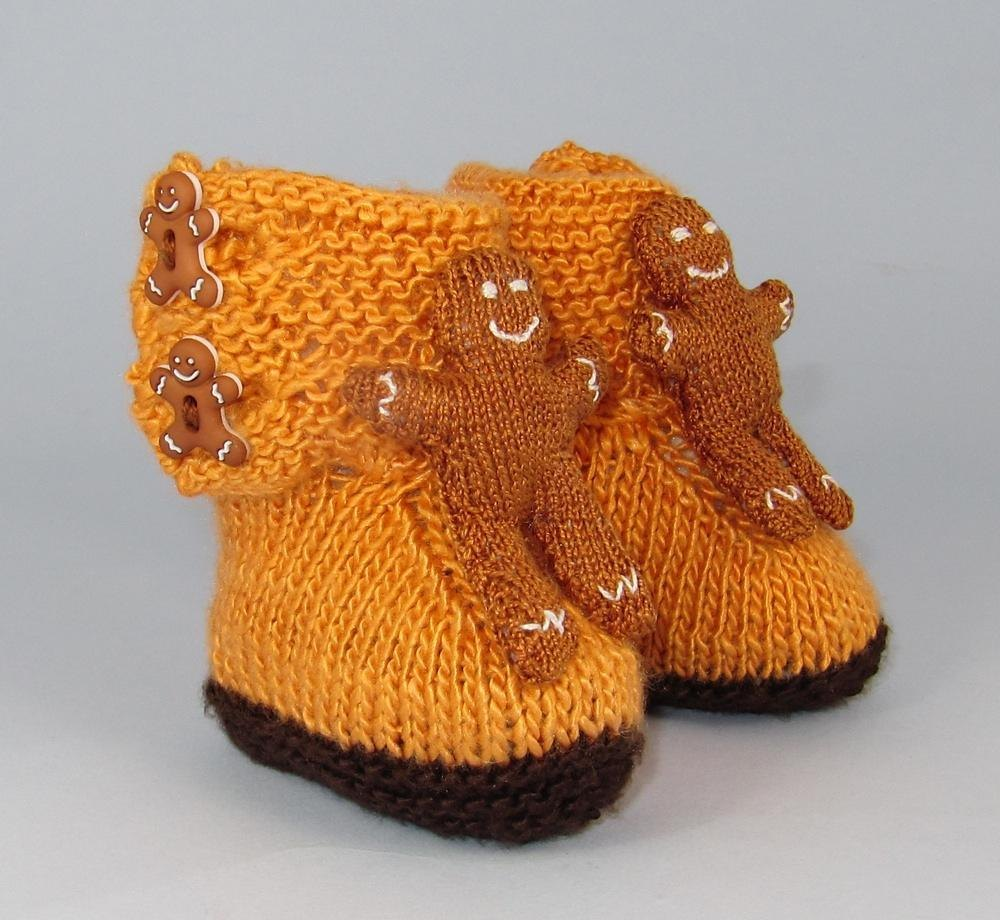 Gingerbread Man Jumper Knitting Pattern : Baby Gingerbread Man Booties Knitting pattern by madmonkeyknits Knitting Pa...