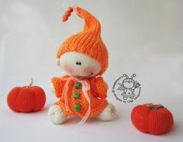 Halloween BOO doll and pumpkin knitted flat