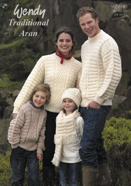 Family Sweaters, Hat and Scarf in Wendy Traditional Aran (5640)