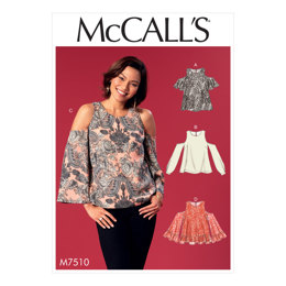 McCall's Misses' Cold-Shoulder Tops with Flared or Cuffed Sleeves M7510 - Sewing Pattern