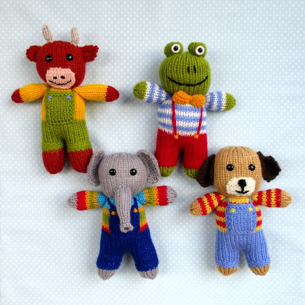Cow, elephant, frog, dog - 4 toy animal dolls Knitting pattern by Toyshelf