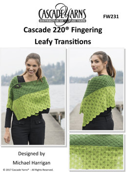 Leafy Transitions Shawl in Cascade 220 Fingering - FW231 - Downloadable PDF
