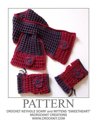 "Crochet Keyhole Scarf and Mittens ""Sweetheart"""
