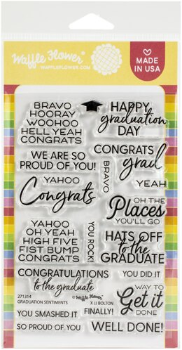 "Waffle Flower Crafts Clear Stamps 4""X6"" - Graduation Sentiments"
