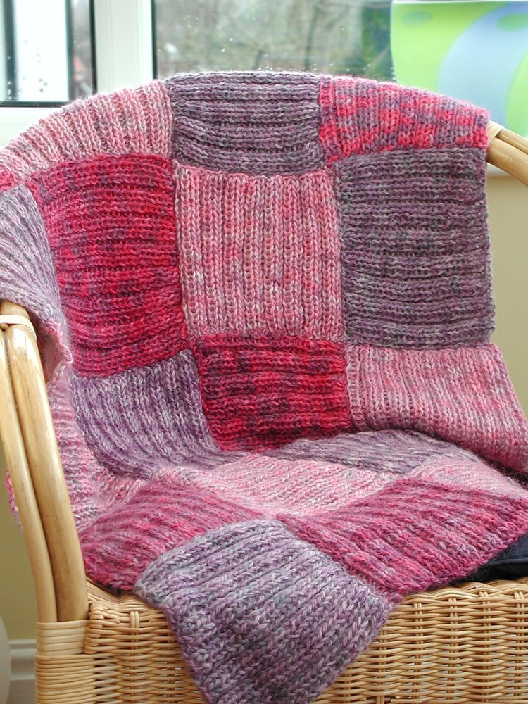 Afghan Blanket In Patchwork Squares Knitting Pattern By