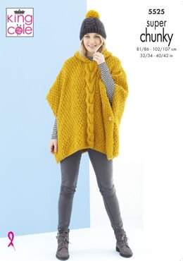 Poncho and Hat in King Cole Timeless Super Chunky - 5525 - Leaflet
