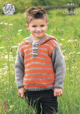 Hoodie and Gilet in King Cole Chunky - 4383 - Downloadable PDF