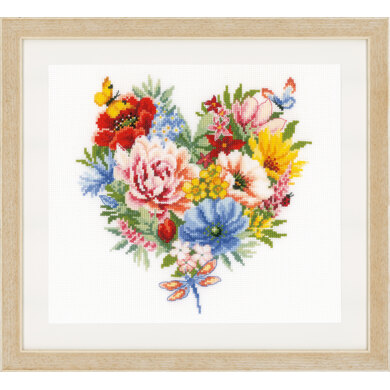 Vervaco Counted Cross Stitch Kit - Heart of Flowers (Aida) - 25cm x 25cm