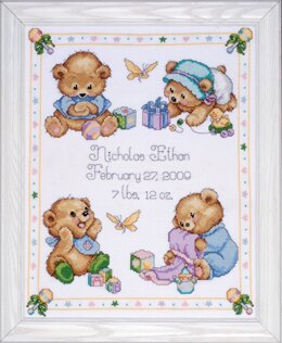Design Works Baby Bears Birth Sampler Cross Stitch Kit