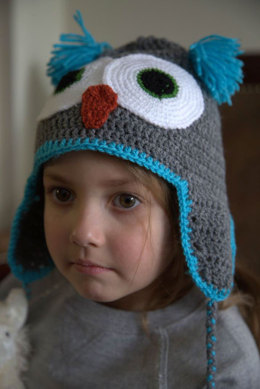 Crochet Owl Hat in Plymouth Yarn Yarnimals Owl - F656 - Downloadable PDF