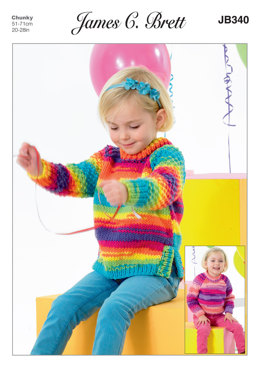 Kids Sweater and Tunic in James C. Brett Party Time Chunky - JB340 - Leaflet