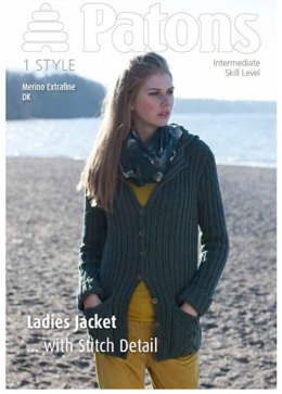 Ladies Jacket with Stitch Detail in Patons Merino