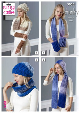 Scarf With Pockets, Hooded Scarf, Lace Cowl, Lace scarf, Hat & Wrist Warmers in King Cole Carousel Chunky - 5055 - Downloadable PDF